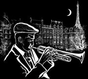Trumpeter on a grunge background Stock Photo