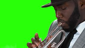 Trumpeter in a hat. stock footage