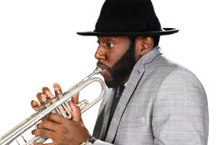Trumpeter in a hat. Stock Images