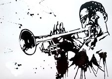 Trumpeter. Jazz band. Jazz Swing Orchestra. Silhouettes. Orchestra. International Jazz Day It is celebrated annually on April 30. Drawing, black mascara on stock illustration