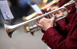 Trumpeter plays his trumpet in the brass band during live concer. Trumpeter plays his trumpet in the band during live concert Royalty Free Stock Image