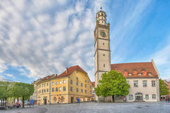 Trumpeter`s tower in Ravensburg, Germany. Historical landmarks of Ravensburg: Blaserturm trumpeter`s tower, and Waaghaus weighing house loacated on Marienplatz Royalty Free Stock Images