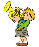 Trumpeter. Scout plays the trumpet. Humorous illustration Royalty Free Stock Photography