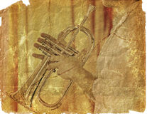 Trumpeter on the scrap of paper. Image of the music background with jivey trumpeter in grunge style vector illustration
