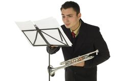 Trumpeter and sheet music Royalty Free Stock Photography