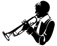Trumpeter, silhouette. Isolated on white Royalty Free Stock Photos