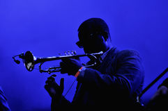 Trumpeter on stage Royalty Free Stock Images