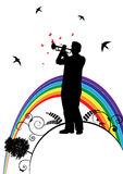 Trumpeter, swallow and  butterfly Royalty Free Stock Images
