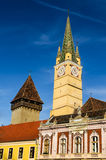 Trumpeter Tower in Medias, Transylvania, Romania Stock Images