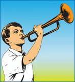 TRUMPETER. Vector color image of a young man playing the pipe Royalty Free Stock Photography