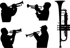 Trumpeters silhouettes set