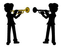 Trumpetist silhouettes Royalty Free Stock Photo