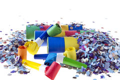 Trumpets, confetti and streamers stars Royalty Free Stock Images