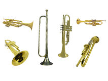 Trumpets and gorn. Under the white background Stock Image