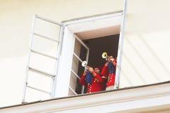 The trumpets play the anthem of the Lviv city, Ukraine stock photo