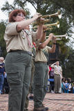 Trumpets play Taps at 2014 Memorial Day Event, Los Angeles National Cemetery, California, USA Royalty Free Stock Images