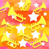 Trumpets stars background Stock Photography