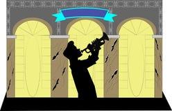 Trumpetspelare i kontur Royaltyfri Fotografi