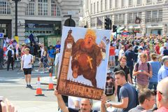 Trumpf-Demonstrationszug London, am 13. Juli 2018: Antidonald-Trumpfplakate Lizenzfreies Stockfoto