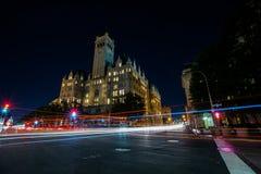 Trumpf-internationales Hotel in Washington, lange Belichtung DCs bei Nig stockbild