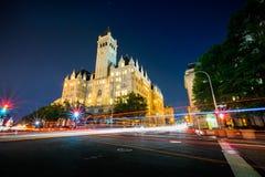 Trumpf-internationales Hotel in Washington, lange Belichtung DCs bei Nig lizenzfreie stockbilder