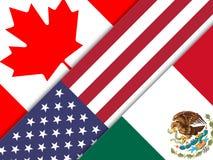 Trumpf Nafta-Flaggen - Verhandlungs-Abkommen mit Kanada und Mexiko - 2d Illustration stock abbildung
