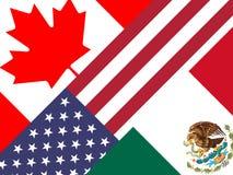 Trumpf Nafta-Flaggen - Verhandlungs-Abkommen mit Kanada und Mexiko - 2d Illustration vektor abbildung
