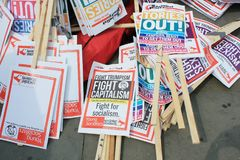 Trumpf-Protest, London, am 13. Juli 2018: Donald Trump-Plakate Lizenzfreies Stockbild