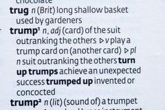 Trumpf-Wörterbuch-Text vom Buch-Hintergrund Lizenzfreie Stockbilder