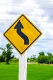 Trun left with field , traffic sign Stock Photos