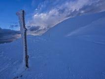 Trunc de madeira congelado com o galaverna perto da cimeira da montagem Catria no inverno no por do sol, Úmbria, Apennines, Itáli Imagem de Stock