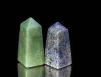 Truncated pyramids from green and blue quartzite. Royalty Free Stock Photos