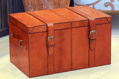 Trunk. Vintage style brown leather luggage trunk with straps Royalty Free Stock Image