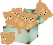 Trunk Baby Teddy Bears. Scalable vectorial image representing a trunk baby teddy bears, isolated on white Royalty Free Stock Photos