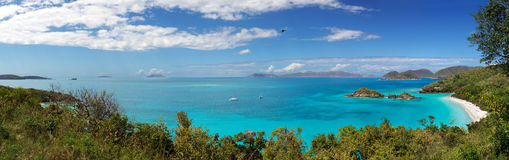 Trunk Bay. Panoramic view of Trunk Bay, St. Johns, US Virgin Islands stock photography