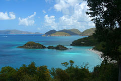Trunk Bay Overlook, USVI. Trunk Bay, on St. John, is too populated to enjoy. But from above, the view is spectacular Royalty Free Stock Photography