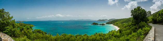 Trunk Bay Panorama. A panoramic view of the popular Trunk Bay beach on St. John Royalty Free Stock Photography