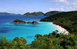 Trunk Bay in St John. Beautiful tropical bay in Caribbean stock photo