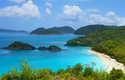 Trunk Bay St. John USVI famous Caribbean beach. A hilltop overlook offers a view of Trunk Bay on St. John in the US Virgin Islands. This turquoise Caribbean bay Stock Image