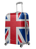 Trunk with British flag isolated. Trip to England concept. Trunk with British flag isolated on white. Trip to England concept royalty free stock photo