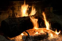 Trunk burning in a fireplace Stock Photo