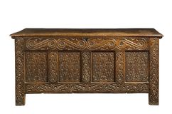 Free Trunk Chest Old Oak Carved Coffer Royalty Free Stock Images - 138820859