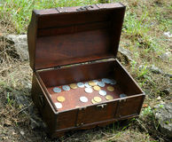 Trunk with coins Royalty Free Stock Photos