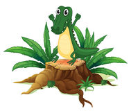 A trunk with a crocodile stock illustration