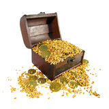 A trunk is gap-filling grain and chinks. Coffer filled with grains and coins on a white background Stock Photography