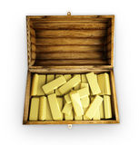Trunk with gold. A wooden trunk is complete bullions Royalty Free Stock Photo