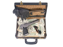 Trunk with guns and money Royalty Free Stock Photography