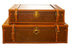 Trunk luggage. Leather trunk luggage isolated included clipping path Stock Photos
