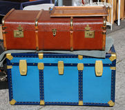 Trunk luggage and a suitcase in leather ancient travelers. Large trunk luggage and a suitcase in leather ancient travelers Royalty Free Stock Photography