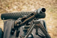 Machine gun of the German army of the Second World War. The trunk of the machine gun of German troops of the Second World War close-up Stock Images